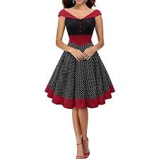 LUXUR  2018 Vintage Women Dress Dot Retro Swing Pinup 50s 60s