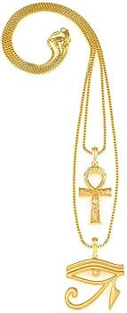 new gold set gwood ankh with eye of horus two necklace set new gold