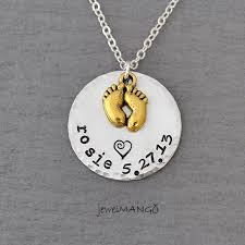 Stamped Name Necklace Keepsake Baby Name Birth Necklace Hand Stamped Baby Necklace