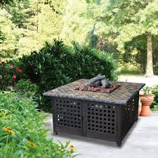 Outdoor Gas Fire Pit Square Lp Gas Fire Pit With Slate Mantel Walmart Com
