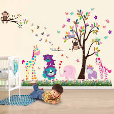 walplus wall stickers happy animals tree butterfly grass removable