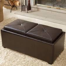 ottoman coffee table everly a deeptufted cushion modern leather