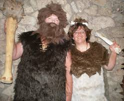 share caveman couple costumes via photos of your homemade creations