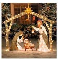 beautiful lighted outdoor nativity lights up a yard for