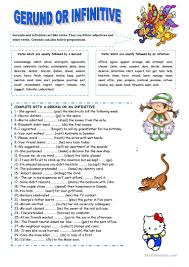 gerund or infinitive worksheet free esl printable worksheets