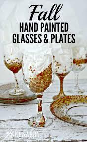fall hand painted wine glasses and appetizer plates