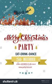 New Year Invitation Card Christmas Party Invitationcard Year Templatesanta Claus Stock