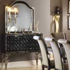 Michael Amini Dining Room Furniture Black Aico Sideboard W Mirror Hollywood Swank Aico Hollywood