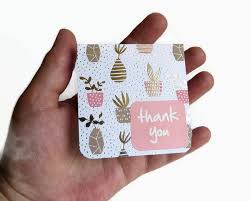 8 thank you cards mini note card plants thank you labels