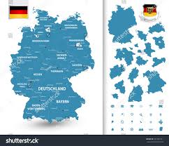Dortmund Germany Map by Map Germany Federal Stateshighly Detailed Map Stock Vector