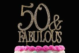 50 and fabulous silver crystal cake toppers bling 50th birthday