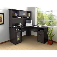 Desk L Shaped Bush Cabot L Shaped Desk With Optional Hutch Hayneedle