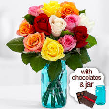 flowers delivered tomorrow livingsocial 12 beautiful rainbow roses vase chocolates only