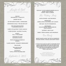 Wedding Programs Template Wedding Program Template Elegant Swirls Pewter Tea Length