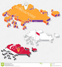 Singapore On Map Singapore Flag On Map Element With 3d Isometric Shape On