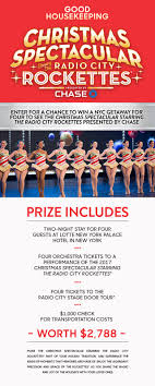 rockettes tickets housekeeping rockettes trip to nyc sweepstakes