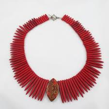 handmade statement necklace images Red bead necklace cleopatra collar necklace big bold necklace jpg