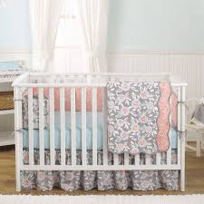 Dahlia Nursery Bedding Set Balboa Baby 4 Baby Crib Bedding Set Grey And Coral