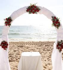 Wedding Arches Beach 2014 Red Roses Beach Wedding Arch White Chiffon Beach Wedding