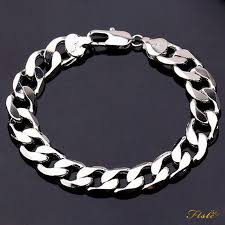 silver chain bracelet men images Heavy mens 20cm 925 sterling silver curb link chain bracelet thick jpg