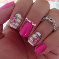 i love this beautiful pink hibiscus solids and stripes nail art