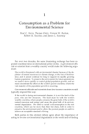 1 consumption as a problem for environmental science