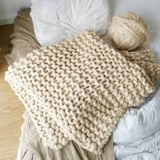 Chunky Wool Rug Chunky Knit Blanket Luxury Cream Bed Runner Chunky Knit Throw