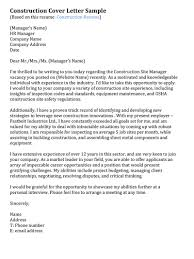 best solutions of cover letter entry level construction management