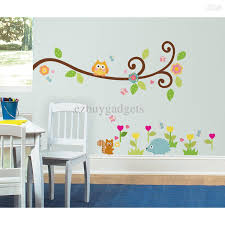 Owl Wall Decals Nursery by Stick On Wall Art Colorful And Friendly Animals Alphabet Wall