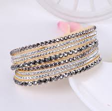 leather rhinestone bracelet images New leather bracelet rhinestone crystal lucky me stuff jpg