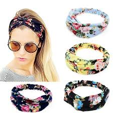 elastic headbands 2017 new wide women turban headband multicolored flower cross