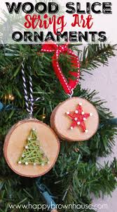 wood slice string art ornament diy wood string art and creative