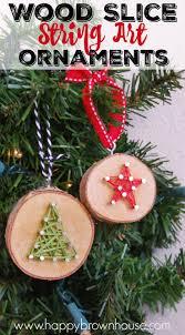 wood slice string ornaments diy wood string and