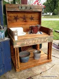 Woodworking Bench Plans Simple by Diy Pallet Potting Bench Plans To Build A Simple Inexpensive
