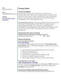 resume farooq khan digital u0026 social media analyst planner sem s u2026