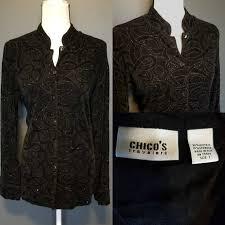 chico s chico s chico s travelers black velvet blouse from power seller