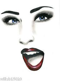 happy woman face original art beauty makeup pencil drawing blue