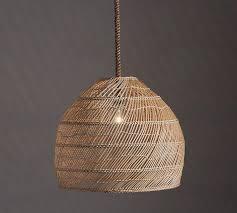 Woven Pendant Light Dome Rattan Woven Pendant