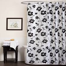 Black Grey And White Curtains Ideas Beautiful Black And Grey Shower Curtain In Flower Pattern Of