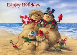beach snowman family box of 18 warm weather christmas cards by red