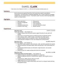 resume exles for 3 best data entry clerk resume exle livecareer