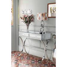 mirrored console vanity table barcelona mirrored console dressing table with chrome stand 2 drawers