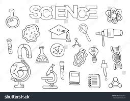 science elements hand drawn set coloring stock vector 601487477