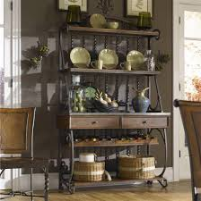 Iron Bakers Rack Bakers Rack With Wine Storage Metal Racks For Classy Home