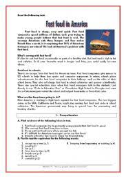 english teaching worksheets fast food