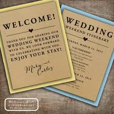 wedding hotel bags wedding welcome note itinerary sided custom printable