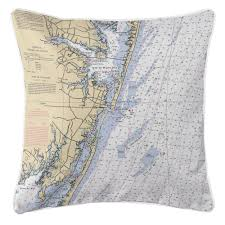 Ocean City Md Map Maryland Nautical Chart Pillows Maryland Map Pillows