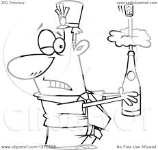 black and white champagne bottle clipart cartoon clipart of a black and white business man holding an