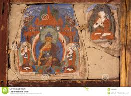 old mural at buddhist monastery wall india stock image image buddhist hemis india ladakh monastery mural old wall