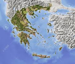 Relief Map Greece Shaded Relief Map With Major Urban Areas Surrounding
